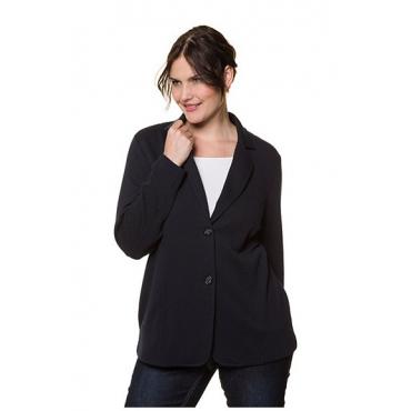Ulla Popken Damen  Sweatblazer, feine Struktur, Regular, Reversform, marine, Gr. 54, Mode in großen Größen