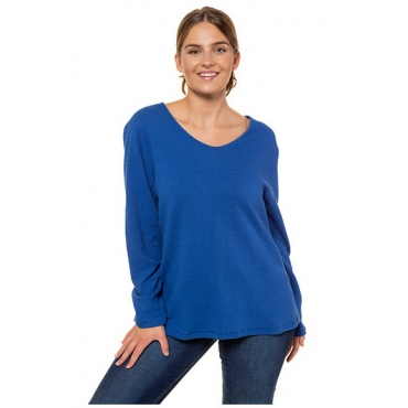 Ulla Popken Damen  Sweater, Bio-Baumwolle, Struktur, Langarm, PURE, königsblau, Gr. 58/60, Mode in großen Größen
