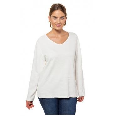 Ulla Popken Damen  Sweater, Bio-Baumwolle, Struktur, Langarm, PURE, offwhite, Gr. 58/60, Mode in großen Größen