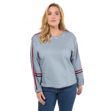 Ulla Popken  Sweatshirt Damen 58/60, light blue, Baumwolle, Mode in großen Größen