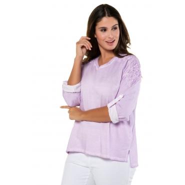Ulla Popken Sweatshirt Damen, flieder, Baumwolle, Mode in großen Größen