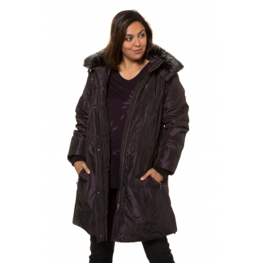 Ulla Popken  Sympatex-Jacke Damen 58/60, schwarz-violett, Polyester, Mode in großen Größen