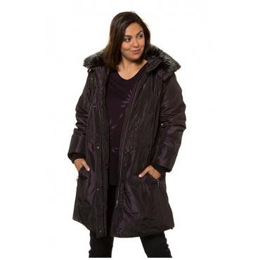 Ulla Popken Damen  Sympatex-Jacke, Webfellkragen abnehmbar, selection, schwarz-violett, Gr. 58/60, Mode in großen Größen