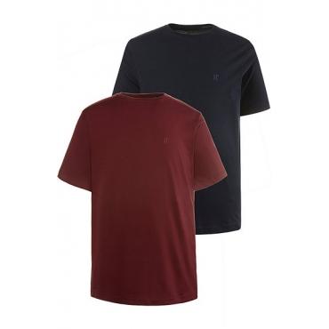JP1880 Herren  T-Shirt, 2er-Pack, Rundhals, bis 8XL, rubin, dunkel marine, Gr. XXL, Mode in großen Größen