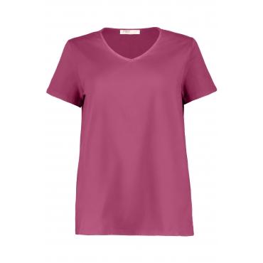 Ulla Popken Damen  T-Shirt, Litzen-Ausschnitt, Classic, Biobaumwolle, rotviolett, Gr. 58/60, Mode in großen Größen