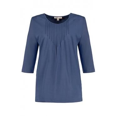 Ulla Popken Damen  T-Shirt, Biesen, 3/4-Ärmel, Biobaumwolle, perlblau, Gr. 58/60, Mode in großen Größen