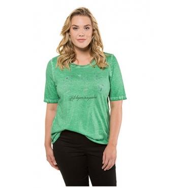 Ulla Popken Damen  T-Shirt, Blüten, Schriftmotiv, Classic, oil dyed, grün, Gr. 58/60, Mode in großen Größen