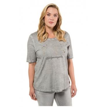 Ulla Popken Damen  T-Shirt, Blüten, Schriftmotiv, Classic, oil dyed, hellgrau-melange, Gr. 58/60, Mode in großen Größen