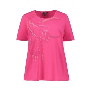 Ulla Popken Damen  T-Shirt, Blütenmotiv, Classic, Elasthan, fuchsia, Gr. 58/60, Mode in großen Größen