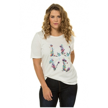 Ulla Popken Damen  T-Shirt, Blütenmotiv LOVE, Classic, Rundhalsausschnitt, offwhite, Gr. 58/60, Mode in großen Größen