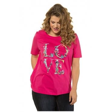 Ulla Popken Damen  T-Shirt, Blütenmotiv LOVE, Classic, Rundhalsausschnitt, pink, Gr. 58/60, Mode in großen Größen