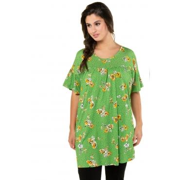 Ulla Popken Damen  T-Shirt, Blütenmuster, Schulter-Cut-Outs, Flügelärmel, hellgrün, Gr. 58/60, Mode in großen Größen