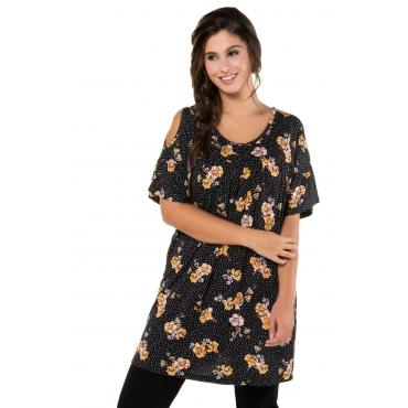 Ulla Popken Damen  T-Shirt, Blütenmuster, Schulter-Cut-Outs, Flügelärmel, schwarz, Gr. 58/60, Mode in großen Größen