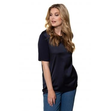 Ulla Popken  T-Shirt Damen Größe 54/56, hellgrau-melange, Mode in großen Größen
