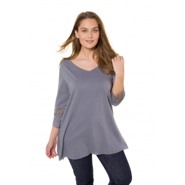 Ulla Popken  T-Shirt Damen 54/56, mittelblau, Baumwolle, Mode in großen Größen