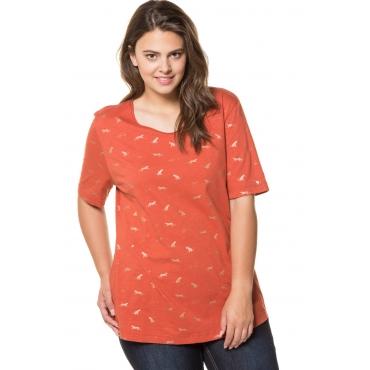 Ulla Popken  T-Shirt Damen Größe 54/56, rostorange, Mode in großen Größen
