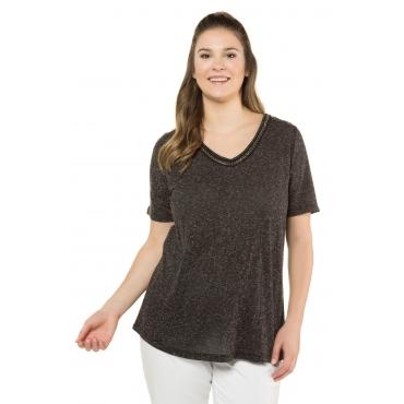 Ulla Popken  T-Shirt Damen Größe 58/60, schwarz-melange, Mode in großen Größen
