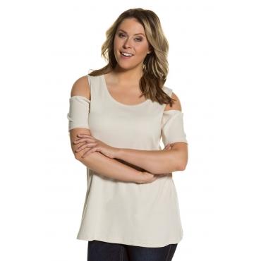 Ulla Popken  T-Shirt Damen Größe 54/56, elfenbein, Mode in großen Größen