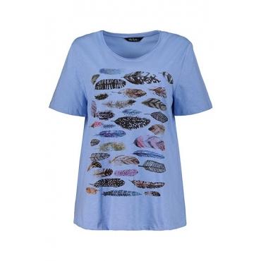 Ulla Popken Damen  T-Shirt, Federmotiv, Regular, Rollkante, Flammjersey, atlantikblau, Gr. 58/60, Mode in großen Größen