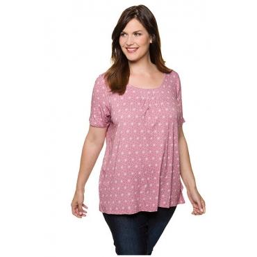 Ulla Popken Damen  T-Shirt, geometrische Blüten, Halbarm, antique mauve, Gr. 58/60, Mode in großen Größen