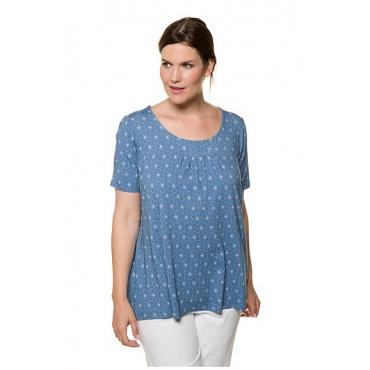 Ulla Popken Damen  T-Shirt, geometrische Blüten, Halbarm, meeresblau, Gr. 58/60, Mode in großen Größen