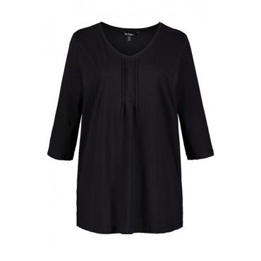 Ulla Popken Damen  T-Shirt, gesteppte Zierfalten, A-Linie, 3/4-Arm, schwarz, Gr. 54/56, Mode in großen Größen