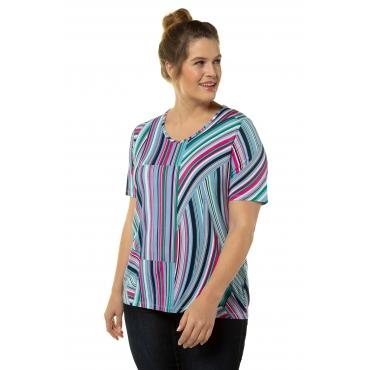Ulla Popken Damen  T-Shirt, Grafik-Streifen, A-Line, Elasthan, marine-pink, Gr. 58/60, Mode in großen Größen
