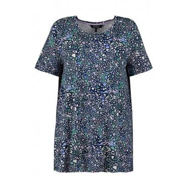 Ulla Popken Damen  T-Shirt, Grafikmuster, A-Line, Stretchqualität, seegrün, Gr. 58/60, Mode in großen Größen