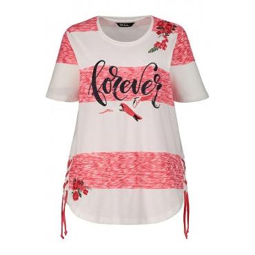 Ulla Popken Damen  T-Shirt, Streifen, Regular, Stickerei, Saumschnürung, karmesinrot-weiß, Gr. 58/60, Mode in großen Größen