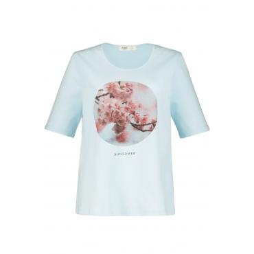 Ulla Popken Damen  T-Shirt, Kirschblüten, Regular, Biobaumwolle, hellblau, Gr. 58/60, Mode in großen Größen