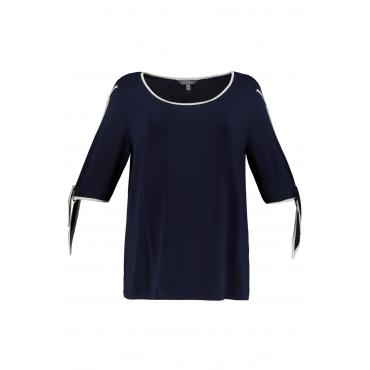 Ulla Popken Damen  T-Shirt, Kontrastdetails, Classic, Ärmel-Bänder, marine, Gr. 58/60, Mode in großen Größen