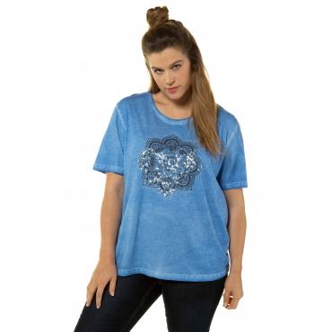 Ulla Popken Damen  T-Shirt, Mandalamotiv, Relaxed, Pailletten, oil dyed, meeresblau, Gr. 58/60, Mode in großen Größen