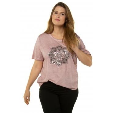 Ulla Popken Damen  T-Shirt, Mandalamotiv, Relaxed, Pailletten, oil dyed, pfingstrose, Gr. 58/60, Mode in großen Größen