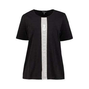 Ulla Popken Damen  T-Shirt, Metallic-Ananasborte, Classic, schwarz, Gr. 58/60, Mode in großen Größen