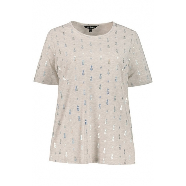 Ulla Popken Damen  T-Shirt, Metallic-Ananasmuster, Classic, Elasthan, grau-melange, Gr. 58/60, Mode in großen Größen