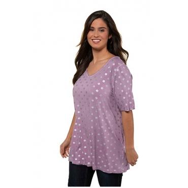Ulla Popken Damen  T-Shirt, Metallic-Punkte, A-Linie, oil dyed, dunkel violett, Gr. 58/60, Mode in großen Größen