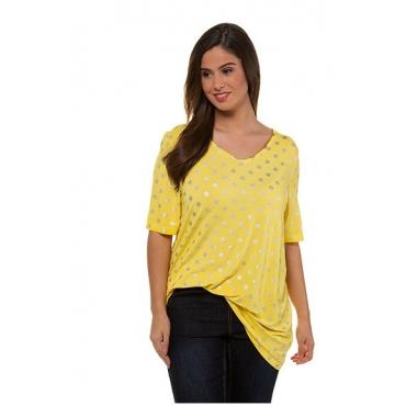Ulla Popken Damen  T-Shirt, Metallic-Punkte, A-Linie, oil dyed, goldgelb, Gr. 54/56, Mode in großen Größen
