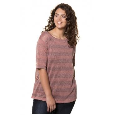 Ulla Popken Damen  T-Shirt, Metallic-Streifen, Oversized, himbeere, Gr. 54/56, Mode in großen Größen