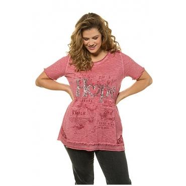Ulla Popken Damen  T-Shirt, Paillettenmotiv HOPE, A-Linie, oil dyed, matte beere, Gr. 58/60, Mode in großen Größen