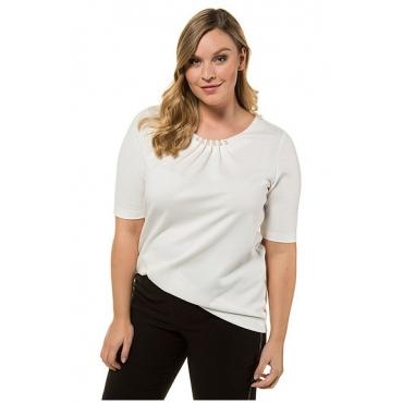 Ulla Popken Damen  T-Shirt, Perlen-Ausschnitt, Classic, Zierfalten, offwhite, Gr. 58/60, Mode in großen Größen