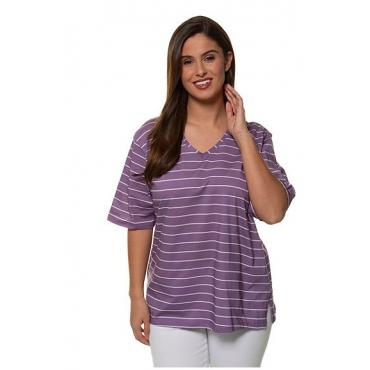 Ulla Popken Damen  T-Shirt, Ringel, Relaxed, V-Ausschnitt, dunkel violett, Gr. 58/60, Mode in großen Größen