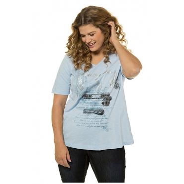 Ulla Popken Damen  T-Shirt, Schriftmotiv, Classic, Flammjersey, hellblau, Gr. 58/60, Mode in großen Größen