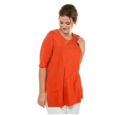 Ulla Popken Damen  T-Shirt, Seitenschlitze, Elasthan, selection, feuerrot, Gr. 58/60, Mode in großen Größen