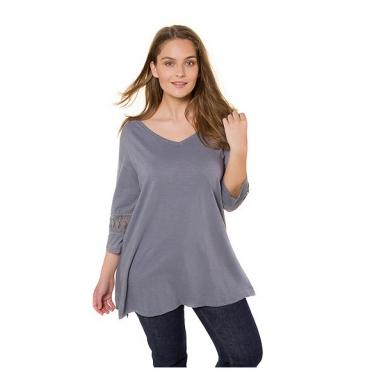 Ulla Popken Damen  T-Shirt, Spitzeneinsätze, A-Linie, Biobaumwolle, mittelblau, Gr. 54/56, Mode in großen Größen