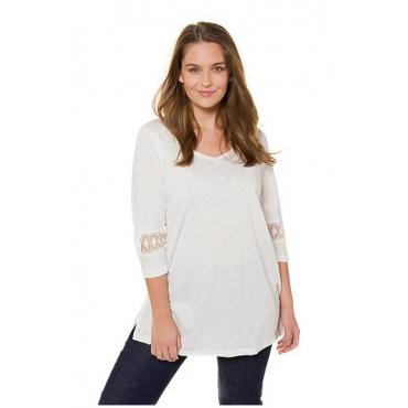 Ulla Popken Damen  T-Shirt, Spitzeneinsätze, A-Linie, Biobaumwolle, offwhite, Gr. 54/56, Mode in großen Größen