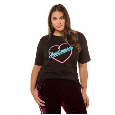 Studio Untold Damen  T-Shirt, Statement wie Leuchtschrift, Halbarm, schwarz, Gr. 54/56, Mode in großen Größen