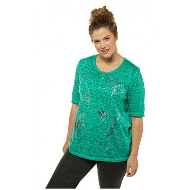 Ulla Popken Damen  T-Shirt mit Schmetterling-Motiv, Ausbrenner, kleegrün, Gr. 58/60, Mode in großen Größen
