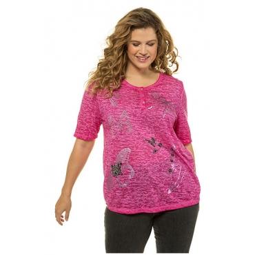 Ulla Popken Damen  T-Shirt mit Schmetterling-Motiv, Ausbrenner, pink, Gr. 58/60, Mode in großen Größen