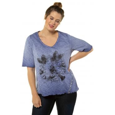 Ulla Popken Damen  T-Shirt, Vintage-Herzmotiv, Classic, Used-Look, violett, Gr. 58/60, Mode in großen Größen