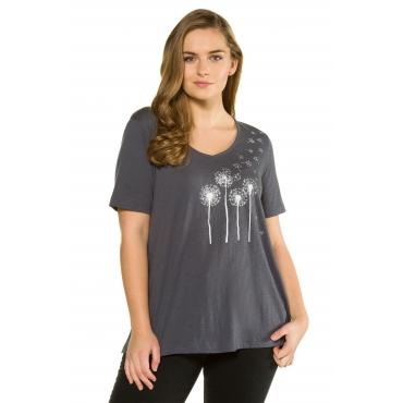 Ulla Popken Damen  T-Shirt, vorne Pusteblumen, hinten Schrift, schieferblau, Gr. 58/60, Mode in großen Größen